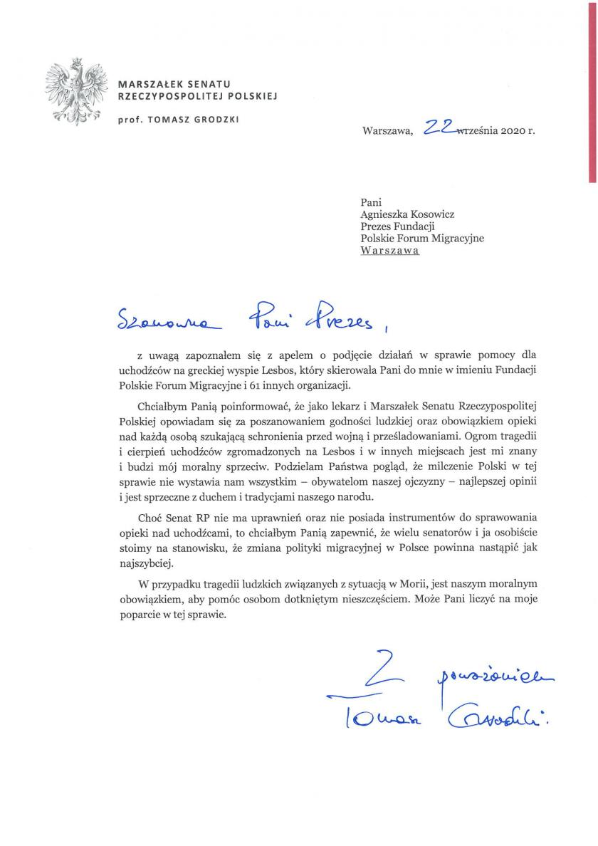 A response from the Marshal of the Senate of the Republic of Poland, prof. Tomasz Grodzki, on the evacuation of refugees from Moria
