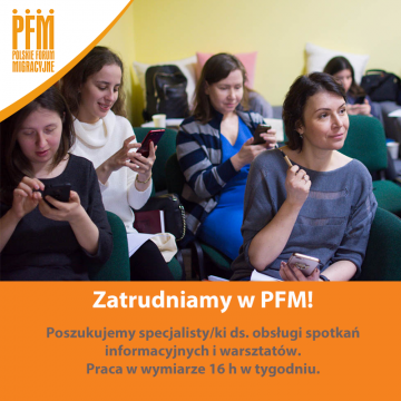 Vacancy at PFM: specialist for handling information meetings and workshops
